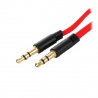 Golden Plated 3.5mm Male to Male Audio Connection Flat Cable - Red (90cm)