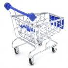 Simulation Mini Supermarket Shopping Trolley Toy - Blue + Silver