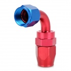 QC-8 Aluminum Alloy Winding Soft Tube Connector Adapter - Rot + Blau