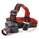 Q5-009 3W LED 180lm 3-Mode White Light Zooming Headlamp - Black + Red (3 x AAA)