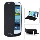 Rechargeable 3200mAh External Battery Back Case w/ Cover for Samsung i9300 - Black