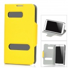 Protective Unlock Slide Open Design PU Leather Case for Samsung Galaxy Note II N7100 - Yellow