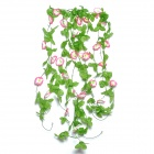 Artificial Morning Glory Vine Flower for Home Wedding Decoration - Pink + Green (5 PCS)