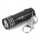 Portable Aluminum Alloy 3-LED White Light Flashlight Keychain - Black (3 x LR44)