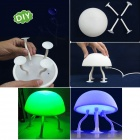 Cool Jellyfish Style 0.2W 2-Mode 6-LED Green / Blue Light Table Desk Lamp - White