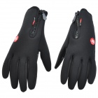 Full Fingers Anti-Slip Water Resistant Wind-Proof Hands Warmer Gloves - Black (Pair)