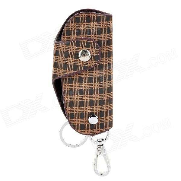 CP001 Universal Genuine Leather Protective Pouch Keychain for Car Smart Key - Brown + Black bamboo texture pu leather zipper car key holder case bag reddish brown