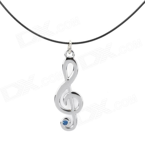 Anime Hatsune Miku Cosplay Music Note Style Pendant w/ Rhinestone Necklace - Black + Silver + Blue