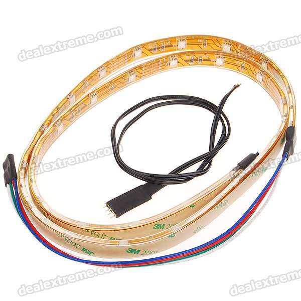 Impermeável 1-Meter 4.5W 30-LED RGB Light Strip (12V DC)