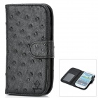 Ostrich Grain Protective PU Leather Case w/ Screen Protector for Samsung Galaxy S3 i9300 - Black