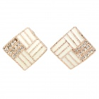 Stilvolle Square Design Zinc Alloy Ohrring - Gold + White (Pair)