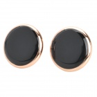 Classic Round Stud Earrings - Black (Pair)