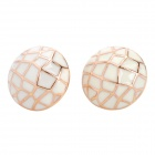 Artful Mesh Pattern Earrings - White (Pair)
