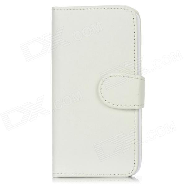 Protective PU Leather Flip Open Case w/ Card Slot / Screen Guard / Back Sticker for Iphone 5 - White protective flip open pc pu leather case w holder card slot for iphone 5 5s black