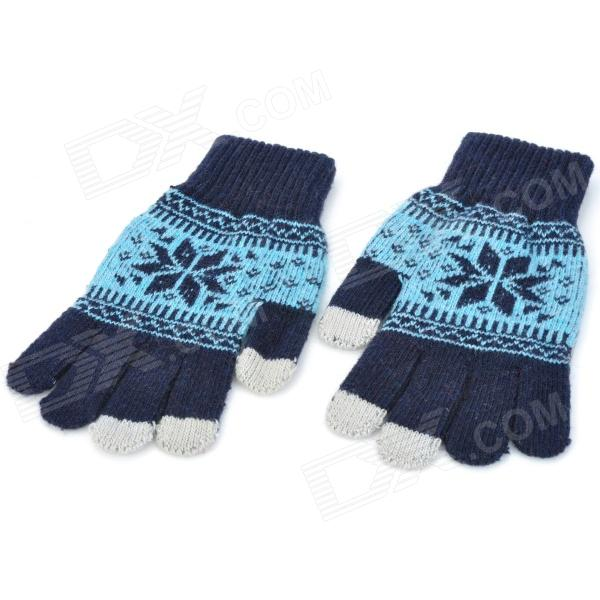 Snowflake Pattern Hand Warmer Gloves for Touch Screen Device (Pair)