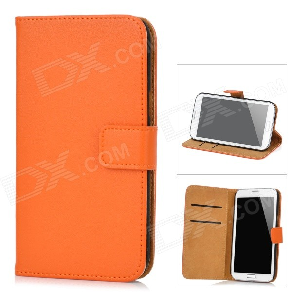 Protective Genuine Leather Case w/ Card Holder for Samsung Galaxy Note II N7100 - Orange protect artificial leather wallet case w plastic holder for samsung galaxy note i9220 black