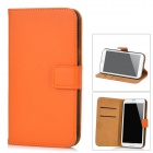 Protective Genuine Leather Case w / Kartenhalter für Samsung Galaxy Note N7100 II - Orange