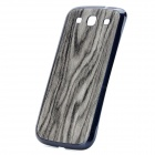 Wood Grain Protective Battery Back Cover Case for Samsung Galaxy S3 i9300 - Deep Blue + Grey