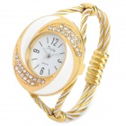 Fashion Woman's Zinc Alloy Band Quartz Analog Waterproof Bracelet Wrist Watch - Golden + White