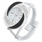 Fashion Woman's Zinc Alloy Band Quartz Analog Waterproof Bracelet Wrist Watch - White + Black