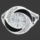 Women's Quartz Analog Waterproof Bracelet Wrist Watch - White + Black