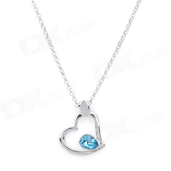 Heart Shape with Rhinestone Lady's Pendant Necklace - Silver + Light Blue rhinestone heart chain pendant necklace