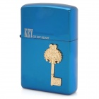 Key Of My Heart Pattern Windproof Zinc Alloy Kerosene Oil Lighter - Blue