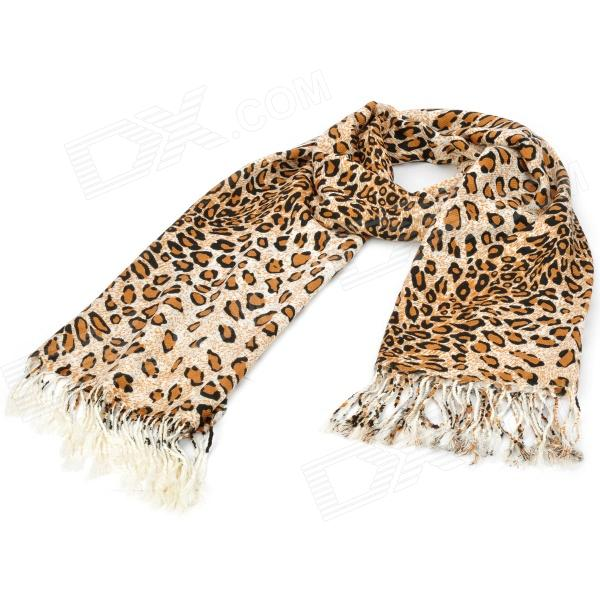 Fashionable Leopard Pattern Wool Fringed Scarf - Brown