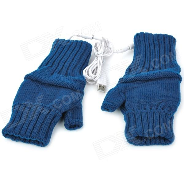 USB Powered Dual-Side Warmer Yarn Gloves - Dark Blue (Pair) new energy saving 5v usb gloves powered heating heated winter hand warmer labor gloves black purple washable free shipping