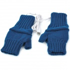 USB Powered Dual-Side Warmer Yarn Gloves - Dark Blue (Pair)