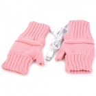 USB Powered Dual-Side Warmer Yarn Gloves - Pink (Pair)
