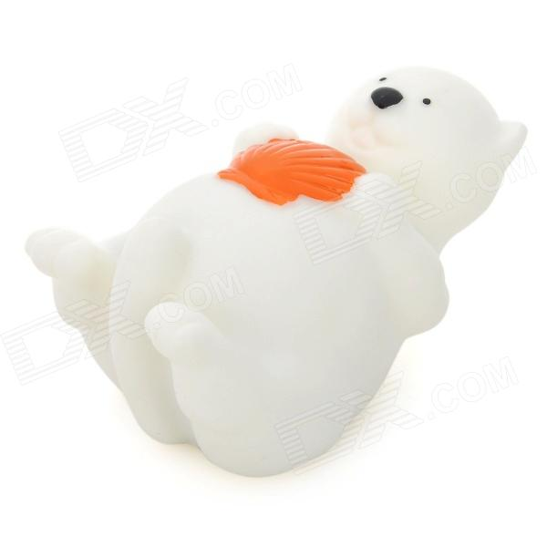 Cute Little White Bear Style Color Changing LED Bath Toy For Kids   White + Deep  Orange (3 X LR616)