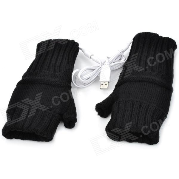 USB Powered Dual-Side Warmer Yarn Gloves - Black (Pair) new energy saving 5v usb gloves powered heating heated winter hand warmer labor gloves black purple washable free shipping