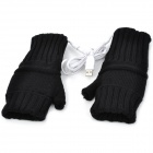 USB Powered Dual-Side Warmer Yarn Gloves - Black (Pair)