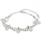 Lovely Four-Leaf Clover Shaped Zinc Mental Bracelet - Silver