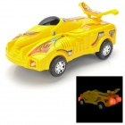 Mini Racing Car Toy Model with Airplane Wing / Music / Light - Yellow (3 x AA)