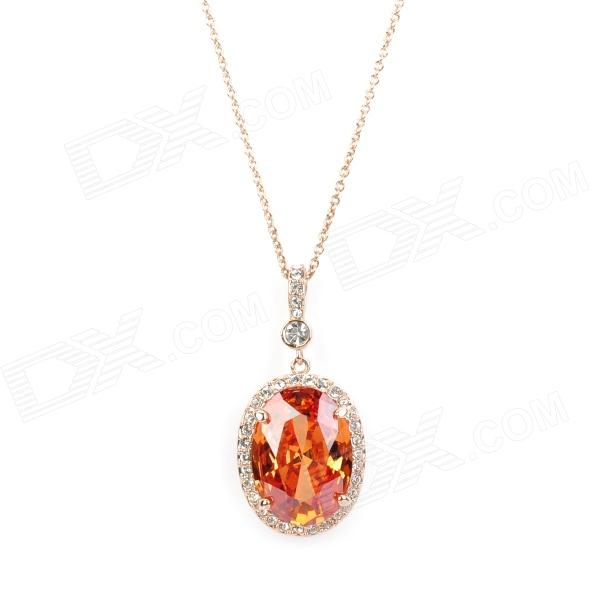 KCCHSTAR Charming 18K Gold Plated Alloy Crystal Amber Pendant Necklace charming alloy gold plated bracelet