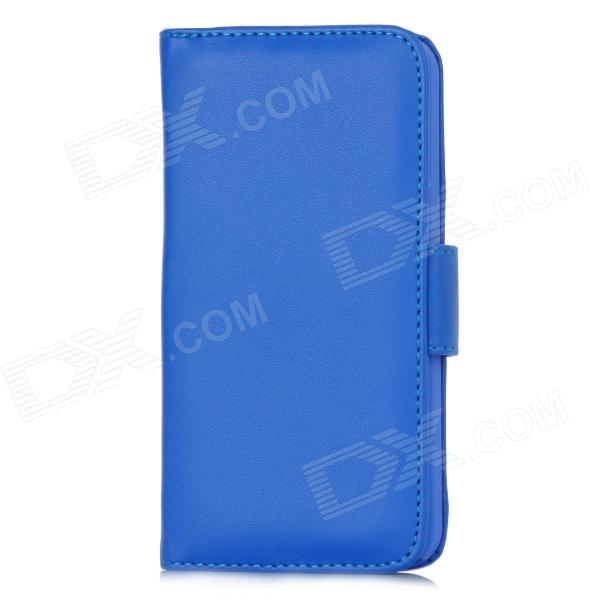 Stylish Protective PU Leather Case w/ Card Holder for Iphone 5 - Blue protective plastic back case w card holder for iphone 5 blue