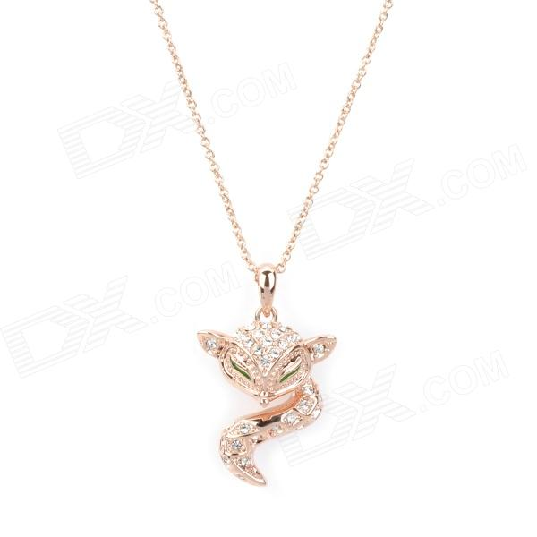 KCCHSTAR Cute Little Fox Style Pendant with Shining Rhinestone Necklace - Golden