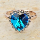 KCCHSTAR Stylish 18K Gold Plated Alloy Heart Shaped Crystal Ring - Blue + Golden