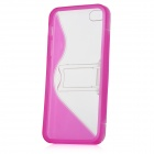 Protective Plastic Case w/ Stand Holder for Iphone 5 - Deep Pink + Transparent