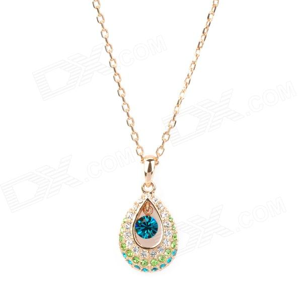 KCCHSTAR Delicate 18K Gold Plated Alloy Shining Crystal Pendant Necklace - Green + Blue + Golden charming alloy gold plated bracelet