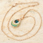 KCCHSTAR Delicate 18K Gold Plated Alloy Shining Crystal Pendant Necklace - Green + Blue + Golden