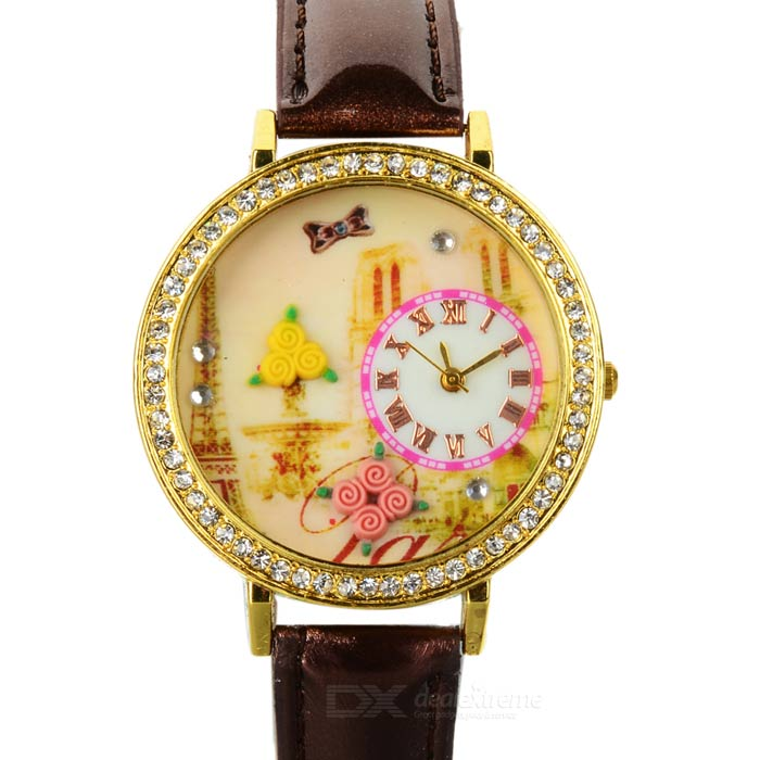 The Eiffel Tower Pattern Woman's PU Band Quartz Analog Waterproof Wrist Watch - Chocolate + Golden