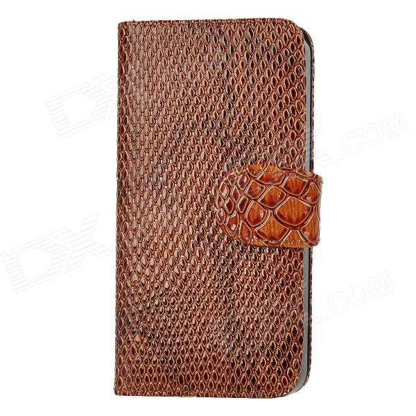 Wallet Style Snakeskin PU Leather Case w/ Card Slots for Iphone 5 - Brown solid color litchi pattern wallet style front buckle flip pu leather case with card slots for doogee x10