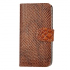 Wallet Style Snakeskin PU Leather Case w/ Card Slots for iPhone 5 - Brown