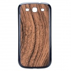 Wood Grain Replacement PU Leather Cover Plastic Battery Back Case for Samsung Galaxy S3 i9300