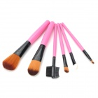 Portable 6-in-1 Beauty Cosmetic Makeup Brush Set w/ Flower Pattern Bag - Pink + Black