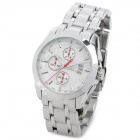 SPEATAK 9031G-1 Stainless Steel Quartz Analog Waterproof Wrist Watch w/ Calendar - White + Silver