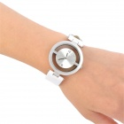 Wilon 1026 Fashion Woman's PU Band Quartz Analog Waterproof Skeleton Wrist Watch - White + Silver